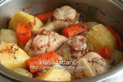 tencerede sebzeli tavuk sebzeli tavuk haşlama